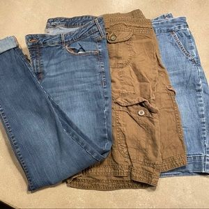 3 pieces 2 shorts 1 pair of jeans